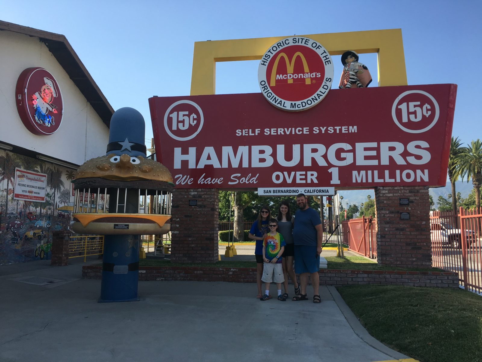 Andy and kids outside the site of the original McDonald's in San Bernardino, CA