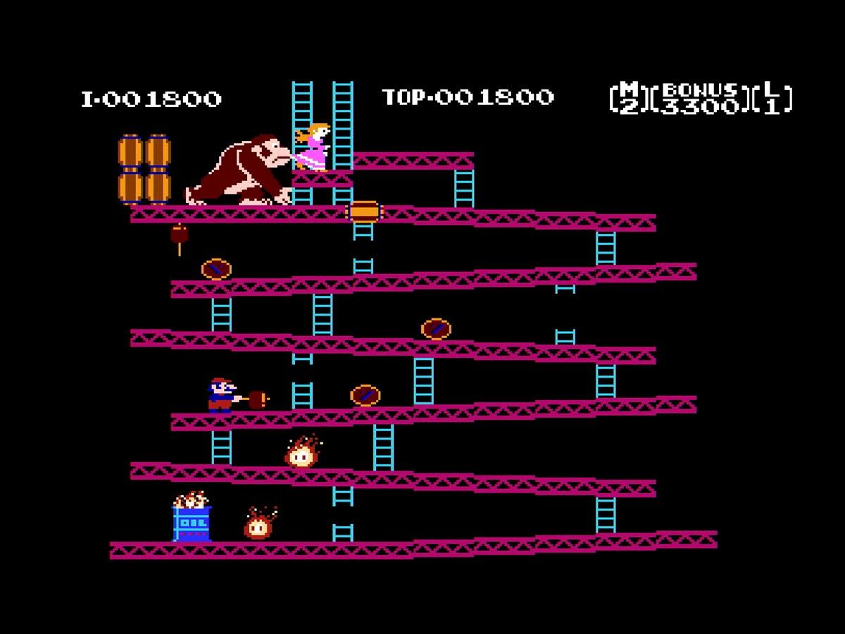 video game screenshot of Doney Kong arcade game