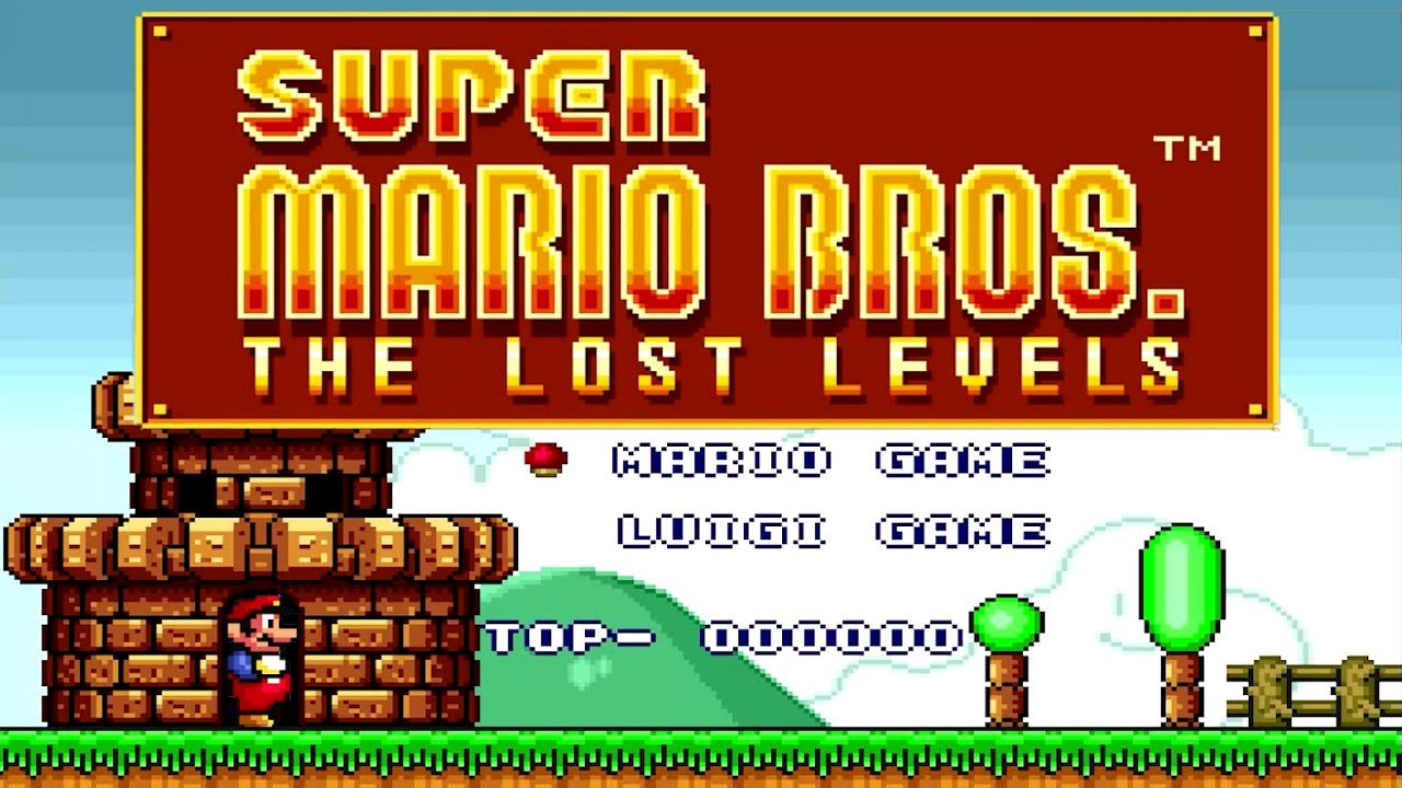 title screen of the Lost Levels Super Mario Brothers game